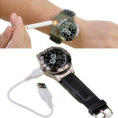 Men sport Watch Electronic lighter USB charging Safe and convenient at low temperature Black One size