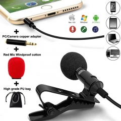 Lavalier Lapel Microphone Mic Perfect for Recording Podcast Good effect of Noise Cancellin Black Perfect One
