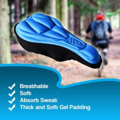 Cycling 3D Pad Bicycle Bike Soft Gel Saddle Seat Cover Cushion with Memory Foam Non Slip blue