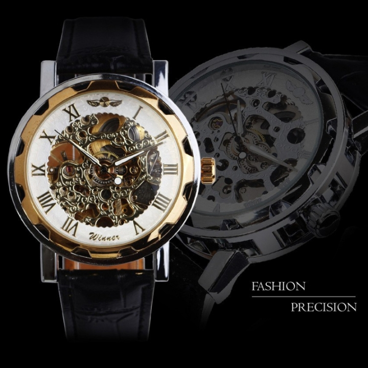 2 Types Winner Male Automatic Mechanical Watch Hollowed PU Leather Strap Band Wristwatch style 1 one size