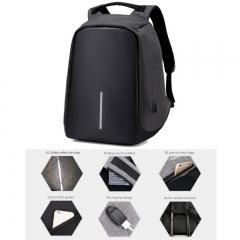 Men's Student double shoulder bag USB charging Oxford cloth computer bag security pack Travel black 43x26x11cm