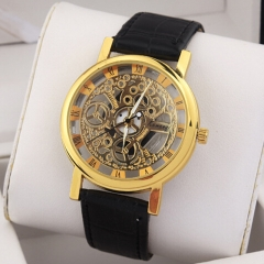Kingmall men's student watch real leather belt double-sided hollowed non mechanical watch gold and black Belt one size