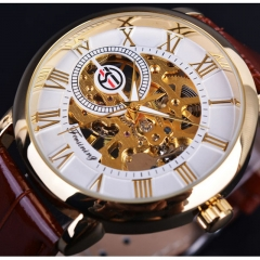 Forsining Royal Men Mechanical Watch high grade leather strap Top Brand Luxury Skeleton Watch gold and white 40x18x11mm