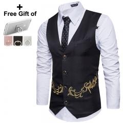 2018 Men's New Embroidery Men's Vest Suit Man Business Casual Wedding black m