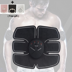 Abdominal Muscle Trainer Shape Body Building Fitness Tool (1 Abdominal Sticker Pad +1 Controller) black