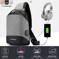 2018 new anti theft student men chest bag USB charging shoulder slanting multi function sports black 33x22x10cm
