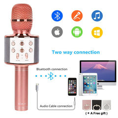 Bluetooth Wireless Karaoke Microphones Speaker Portable for All Smart Phone Home Birthday Party Gift Rose Gold perfect one