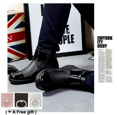 Men's short tube fashion waterproof shoes Martin boots Antiskid water shoes Low overshoes black 40