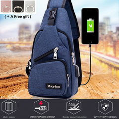 Student Chest slant bag Shoulder bag Multipurpose Daypacks with USB Charging Port Blue 32X12X7cm