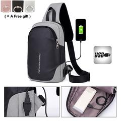 new student men waterproof chest bag USB charging shoulder slanting multi function sports black and khaky 31x22x10cm