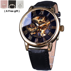 Forsining Royal Men Mechanical Watch high grade leather strap Top Brand Luxury Skeleton Watch gold and black 40x18x11mm