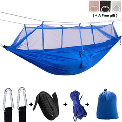 Camping Hammock with Mosquito Net Supports Up Max 600Lbs Nylon Portable Parachute Easy to Set up blue 260*140mm