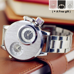 Mechanical watch double time design frosted dial personality rotation head Business travel Silver one size