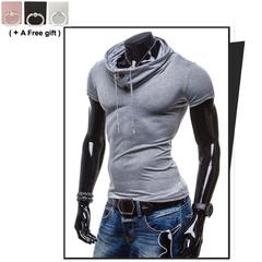 Men's summer short sleeved POLO shirt Heap collar Vertical cardigan Bottoming shirt light grey m 80% cotton