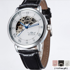 Men Mechanical watch Fan-shaped dial Hollow out of the back leather Belt silver one size