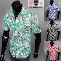 Men's summer Short Sleeves Fancy shirt Hawaii wind short sleeves style 1 l
