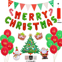 Christmas Parties Decoration Aluminum Foil Balloons Set, Triangle Flags Banners Add Inflator colour mixture different shapes