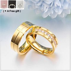 Valentine's Day Men Women Engagement Rings Wedding Jewelry Titanium steel Set with diamonds gold 6cm