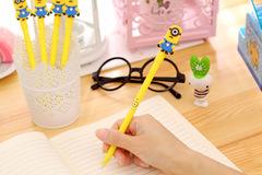 10pcs Cartoon cute black neutral pen signature pen Yellow one size