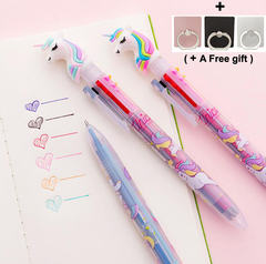 6 Colors Unicorn Ballpoint Pen School Supply Gift Stationery Papelaria Escolar Bullet type 0.5 6 colors one size