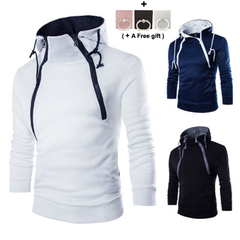 Fashionable double zipper cardigan and colour-clashing Hoodie Sweater black m