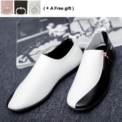 Leisure Fashion Men's Leather Shoes Soft-soled Breathable Sports Business white and black 40