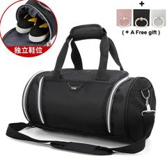 Fitness Bag Shoe Position Cylinder Bag Waterproof Travel Bag Sports Single Shoulder Bag black 41x21x22CM