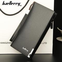Men's Long Wallet multi-functional zipper handbag black 20x11x3CM