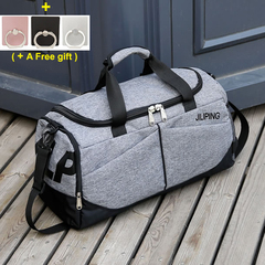 Hand-held Sports Fitness Bag, Large Travel Bag for Men and Women, Single Shoulder Waterproof Baggage Grey 51x23x27cm
