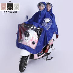 Double person Raincoat for Electric Motorcycle Thickened Oxford Removable Double Hat Eaves blue