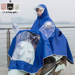 men women Raincoat for Electric Motorcycle Thickened Oxford Removable Double Hat Eaves blue