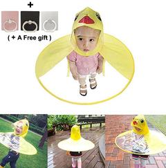 Kid's Duck Raincoat Children Umbrella UFO Shape Cute  Cloak Hooded Raincoat Foldable yellow