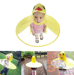 Kid's Children Raincoat Duck UFO Cute Shape Cloak Hooded Umbrella Rain shoes Foldable Bargains yellow