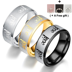Muslim Titanium Steel Men's Ring Stainless Steel Ring gold number 6