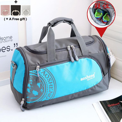 Sports Fitness Gym Bag contain Shoes Position Waterproof Folding Tourism blue 45x20x25cm