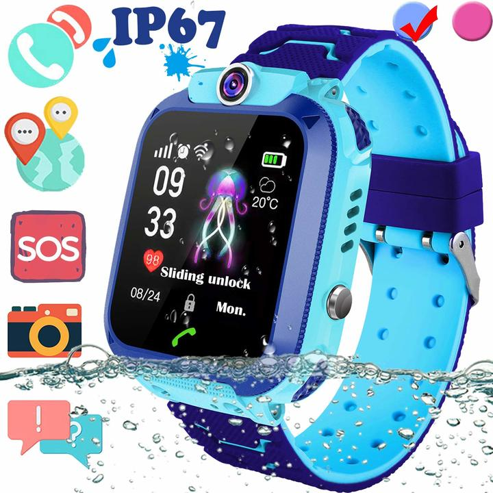 Children Smart Telephone Watch IP67 Waterproof Positioning with SIM Anti-Lost SOS Camera blue 35*42*15mm