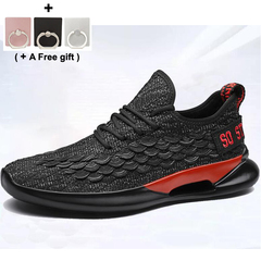 Leisure fashion sneakers Running shoes Antiskid shoe Fish scale design black and gray 42