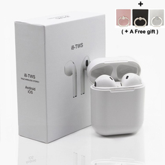 Bluetooth Wireless I8S Earphones 2019 Mobile Week Blutooth 5.0 Earbuds 3D Stereo Sound Charging Case white