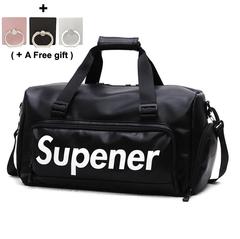PU Fitness Bag Travel Bag Single Shoulder Luggage Bag black and red color black 46cmX21cmX26cm,    Capacity 25 litres