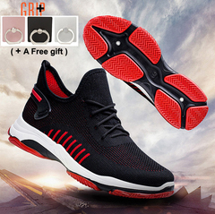 Fashion Sneakers leisure sports men's shoes Flying Weaving Air-permeable Student Shoes black and red 44