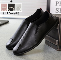 Fashion and Leisure Men's Bean Shoes Soft-soled leather shoes Men's single shoes black 40 leather