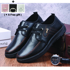 Men's Leather Business Shoes New Leisure Soft Bottom Anti-skid black 40 leather