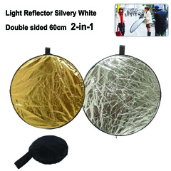 60cm 2-in-1 Collapsible Round Studio Light Reflector White and Gold color with Carrying Case Silver & Gold 60x60cm
