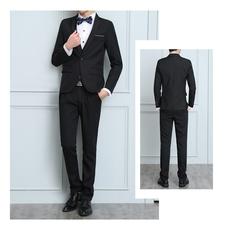 Mens Solid 3-Piece Suit Slim Fit Notch Lapel One Button Tuxedo Blazer Jacket Pants Vest Set black l