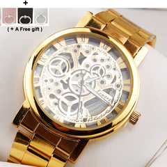 Men's Watch Steel Strip Double-sided Hollow Non-mechanical Watch Students'Quartz Watch gold 22*4*0.8cm