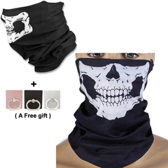 Skull print Multi-Purpose Scarf Bandana Mask and gloves Ghost Festival party COSPLAY men gift black 25×50cm