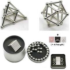 63Pcs/Box DIY Building Magnetic Stick and Balls Product puzzle Toy Brain Training Silver 8cm