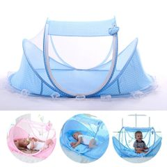 Baby Mosquito Net Bed FBK Instant Pop up Portable Travel Bed Beach Tent Bed  Infant Crib blue 110*65*60cm