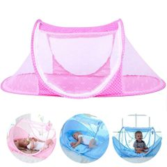 Baby Mosquito Net Bed FBK Instant Pop up Portable Travel Bed Beach Tent Bed Mattress Bargains pink 110*65*60cm