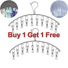 2Pcs Clothes Hanger with 10 Clips 4mm thickening Stainless Steel Drying Rack for Socks bargains Silver Length 44cm